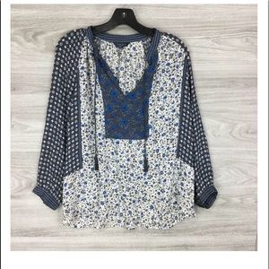 LUCKY BRAND Blue Floral Split Neck Peasant Top